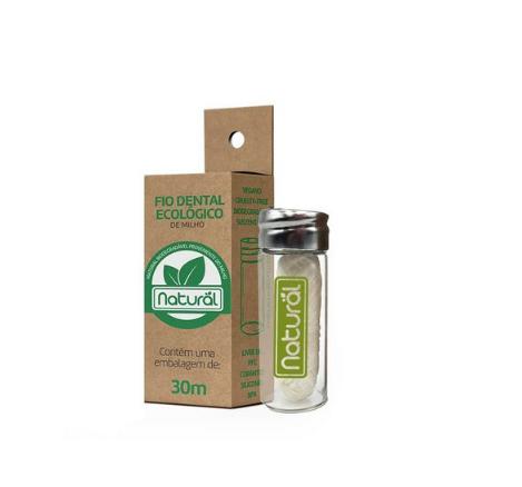 Fio Dental Ecológico - feito de Milho (com embalagem reutilizável de vidro)   Orgânico Natural - 30m