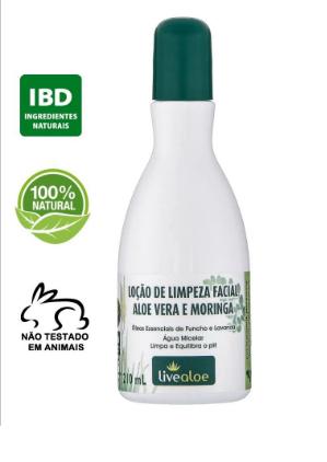 Loção de Limpeza Facial Aloe Vera e Moringa| Live Aloe - 210 ml