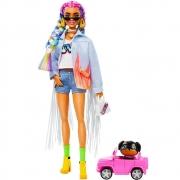 Boneca Barbie Extra Tranças de Arco Iris Acessórios Mattel
