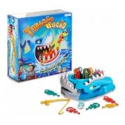 Jogo Tubarão Bocão Com 12 Peixes Brinquedo Infantil Pescaria