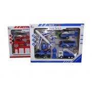 Kit De Carrinhos Bombeiro Ou Polícia Caminhão Moto Fricção