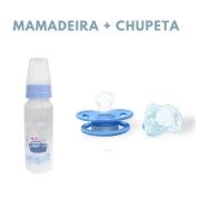 Kit Mamadeira Bico Ortodôntico 240ml + Chupeta de Silicone Fase 1 C/ Capuz