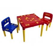 Mesa Mesinha Didática Infantil 2 Cadeiras Plástica Educativo C/ Alfabeto