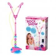 Microfone Infantil Musical Duplo C Luz Na Base Infantil Rosa