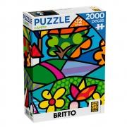 Puzzle Romero Britto 2000 Peças Campo Quebra Cabeca Grow