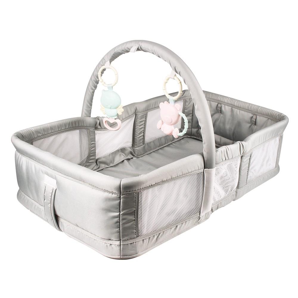 Berço Ninho Bebê Portatil Dobrável com Alça e Brinquedos