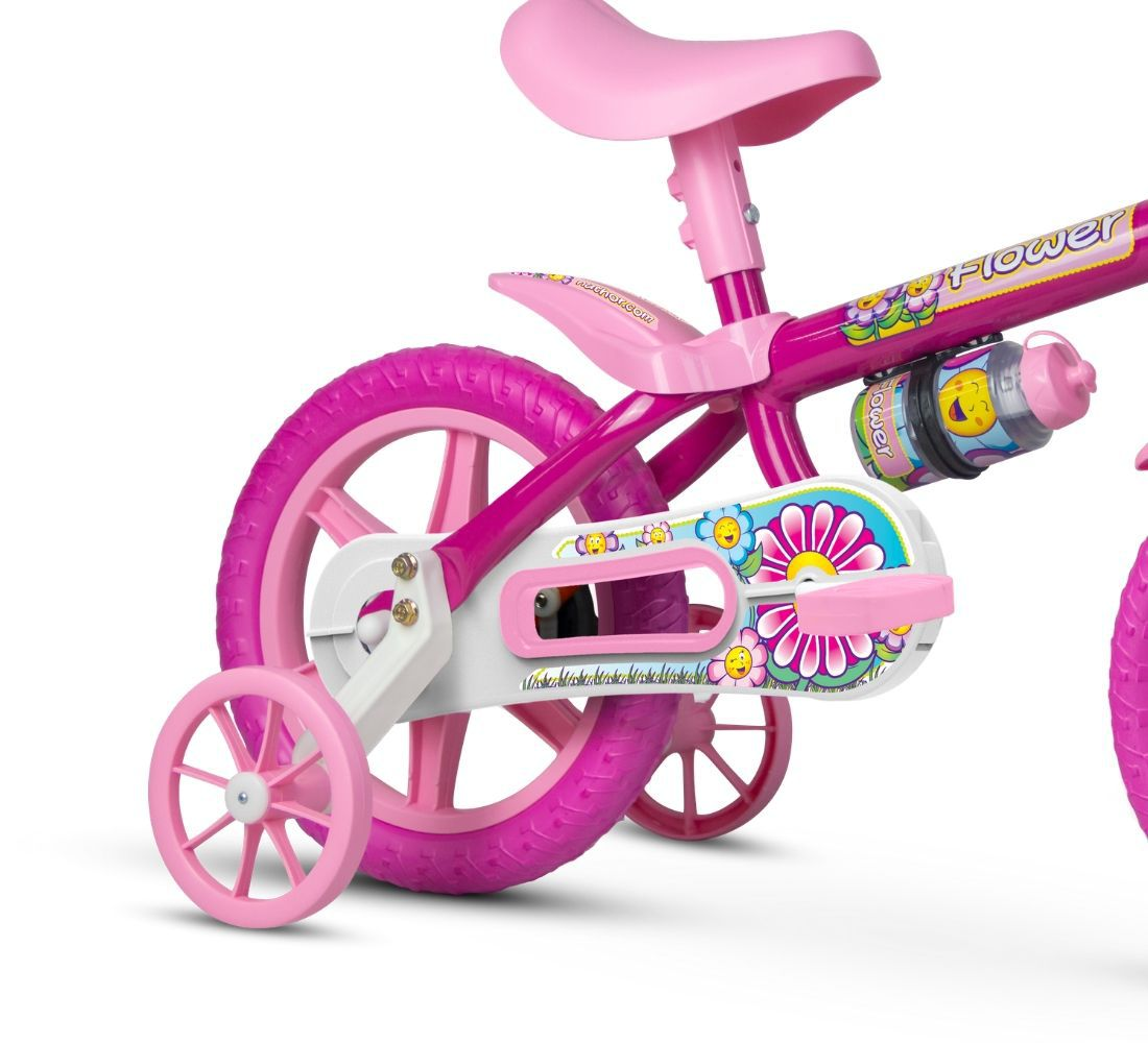 Bicicleta Bicicletinha Infantil Aro 12 Flower Rosa - Nathor