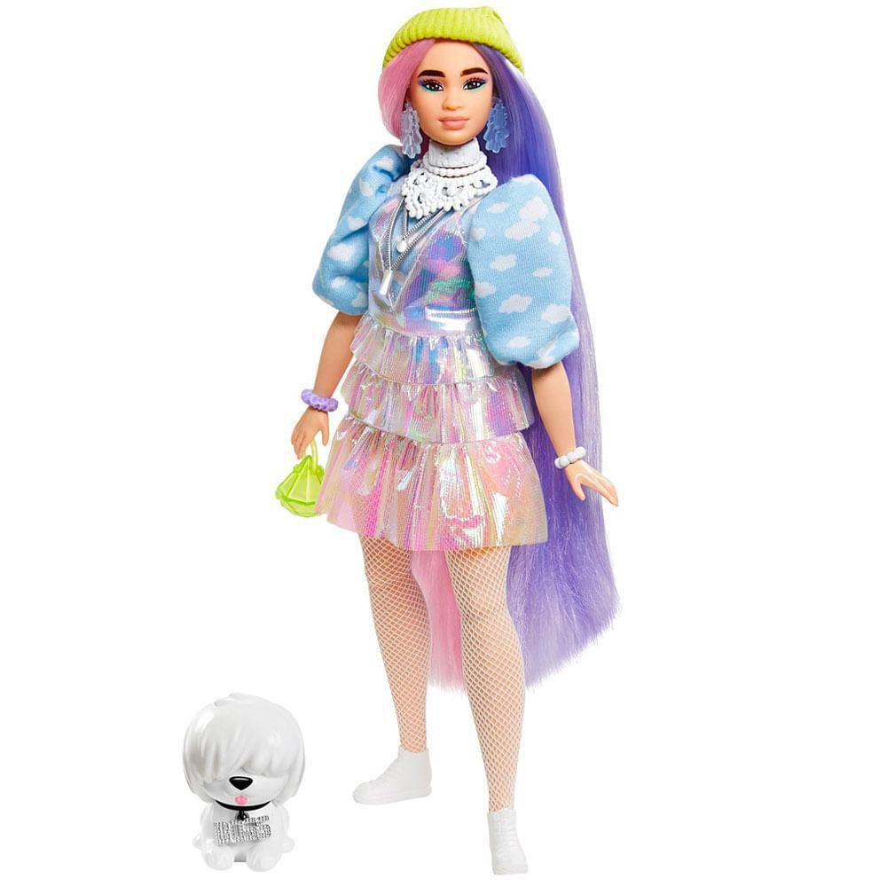 Boneca Barbie Extra Com Cabelo Colorido E Mascote Mattel