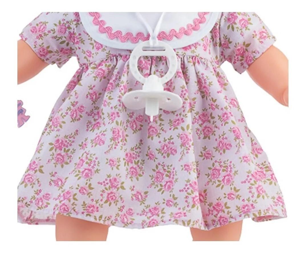 Boneca Nenezinho 44cm Vestido Rosa Sapato e Chupeta -Estrela