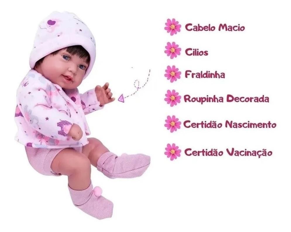 Boneca Reborn Anny Doll Baby Menina C/ Cabelo Cotiplás 2441