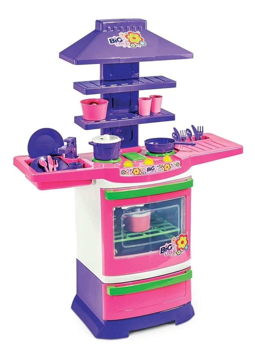 Cozinha Infantil Completa Menina Fogãozinho Criança Poliplac
