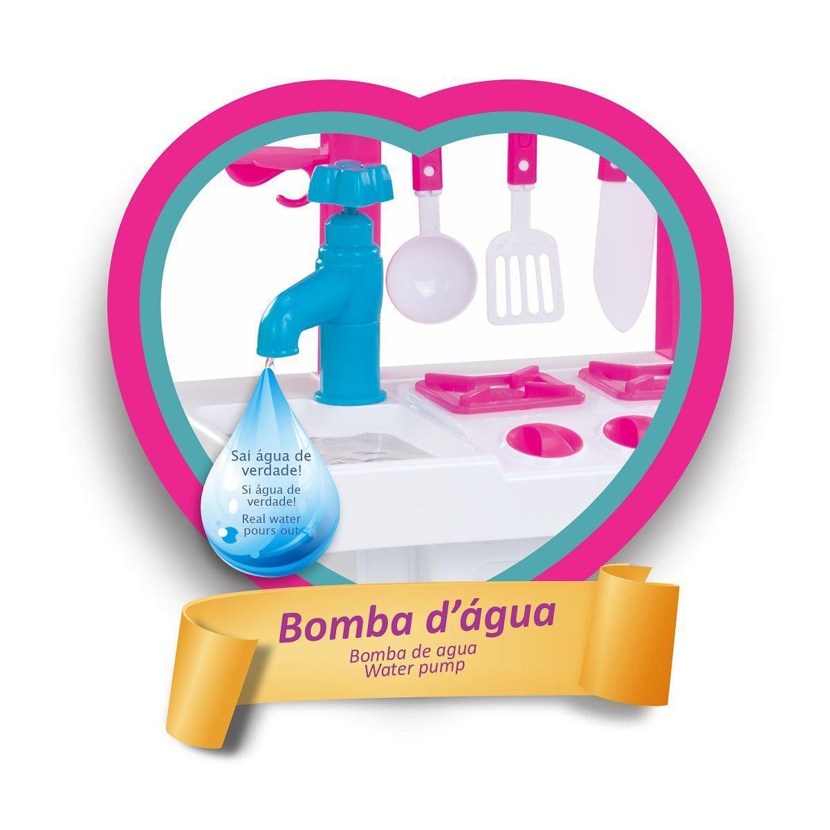 Cozinha Infantil Completa Sai Agua C/ Geladeira E Acessorios