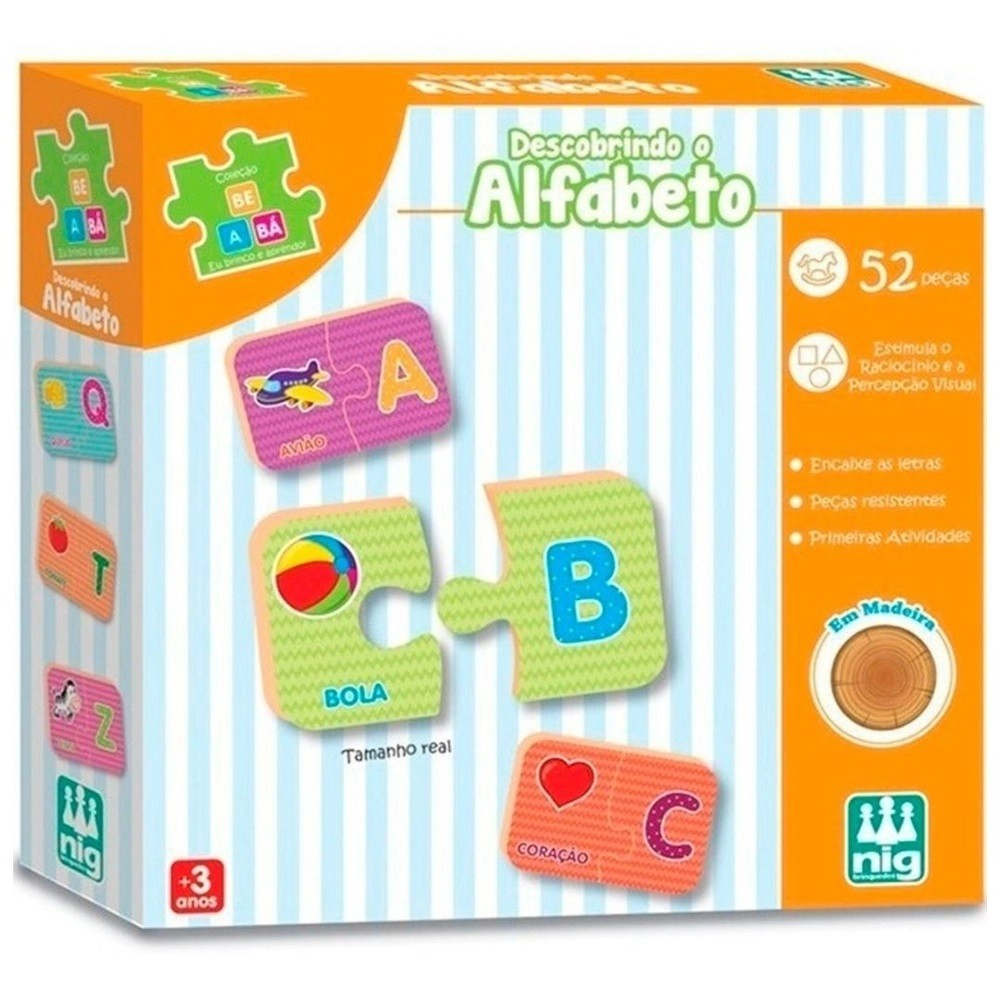 Descobrindo Alfabeto Do A Ao Z Em Madeira - Pedagógico - Nig