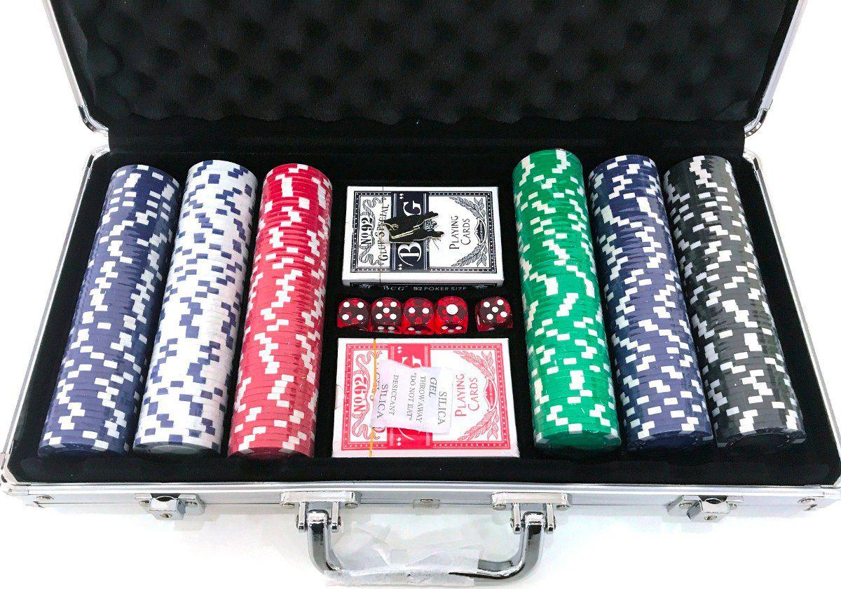 Maleta Poker 300 Fichas Kit Completo 2 Baralhos 5 Dados