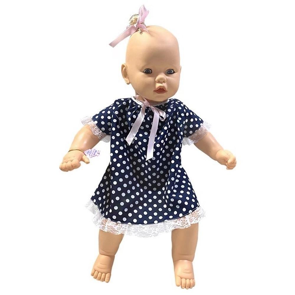 Meu Bebê Vest Loira Azul Com Bolinhas - Estrela