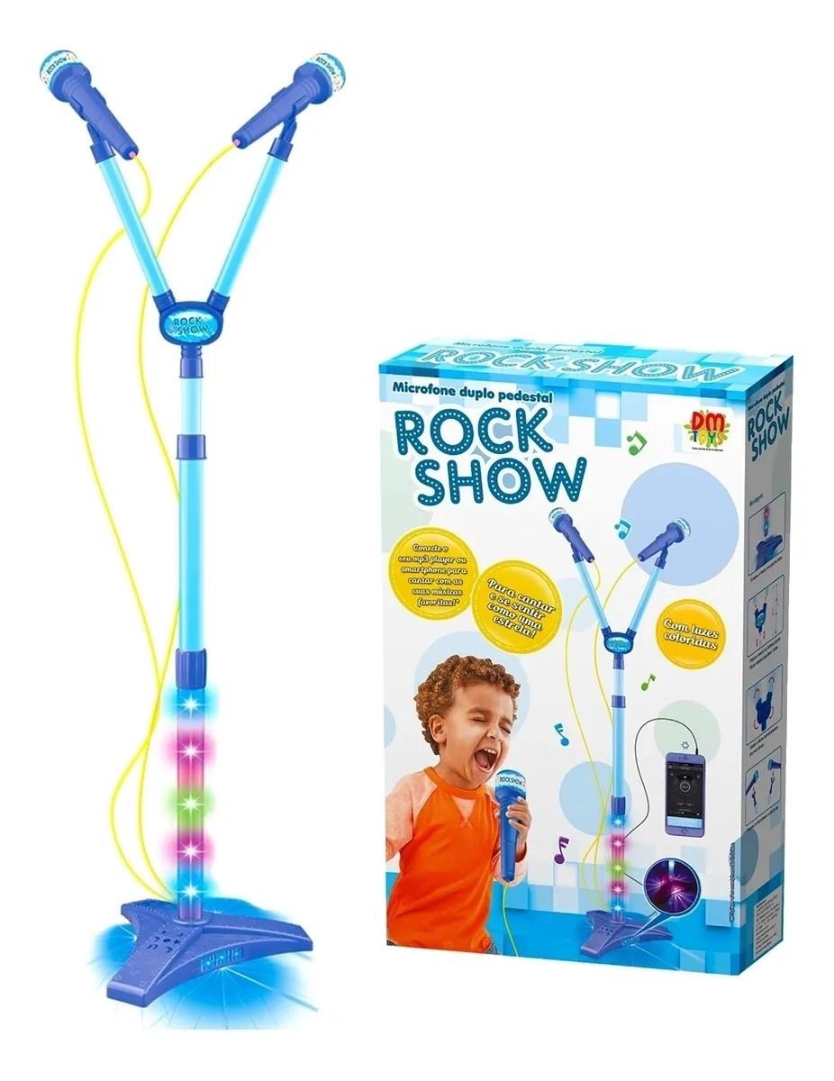 Microfone Infantil Musical Duplo C Luz Na Base Infantil Azul