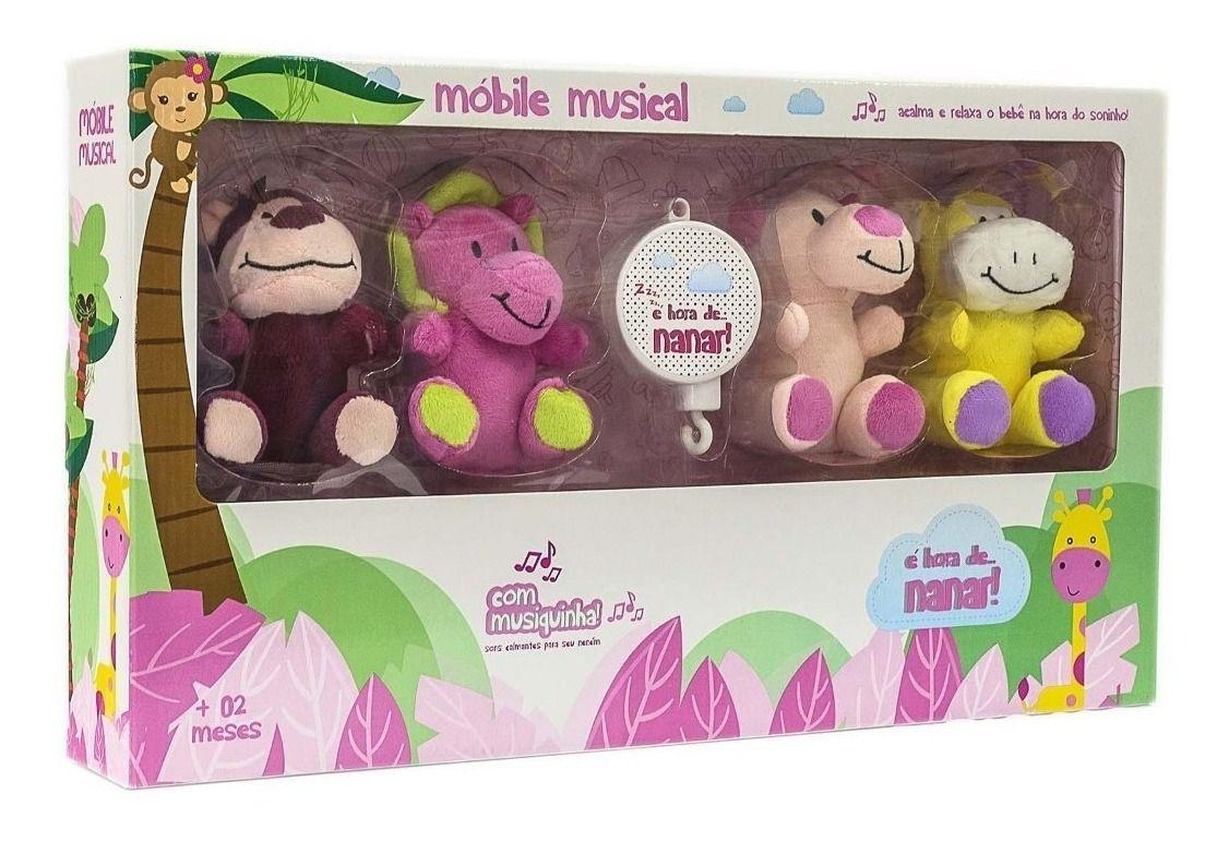 Mobile Musical Safari Pelucia Para Berço Feminino - Unik