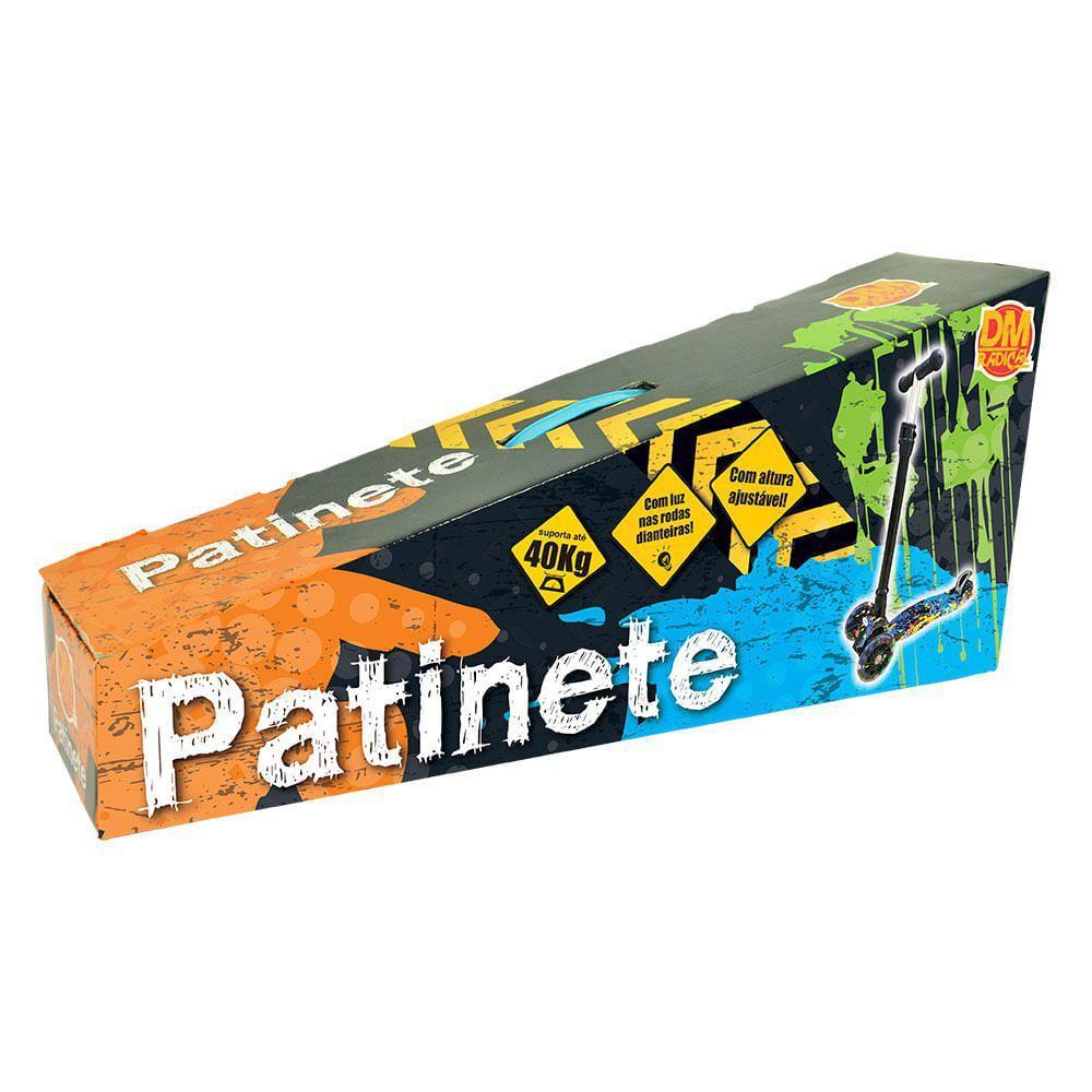 Patinete Flash Infantil Trinete Radical 3 Rodas Com Luzes