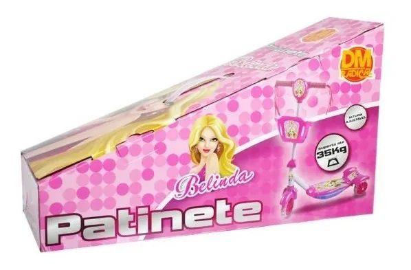 Patinete Musical Infantil Com Cesta Luzes Led e Som Rosa DM Toys