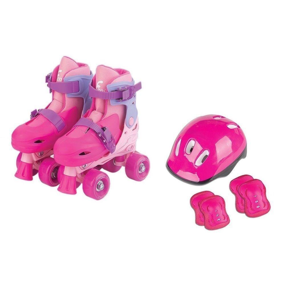 Patins 4 Rodas Infantil Menina Ajustável 34-37 Kit Proteção