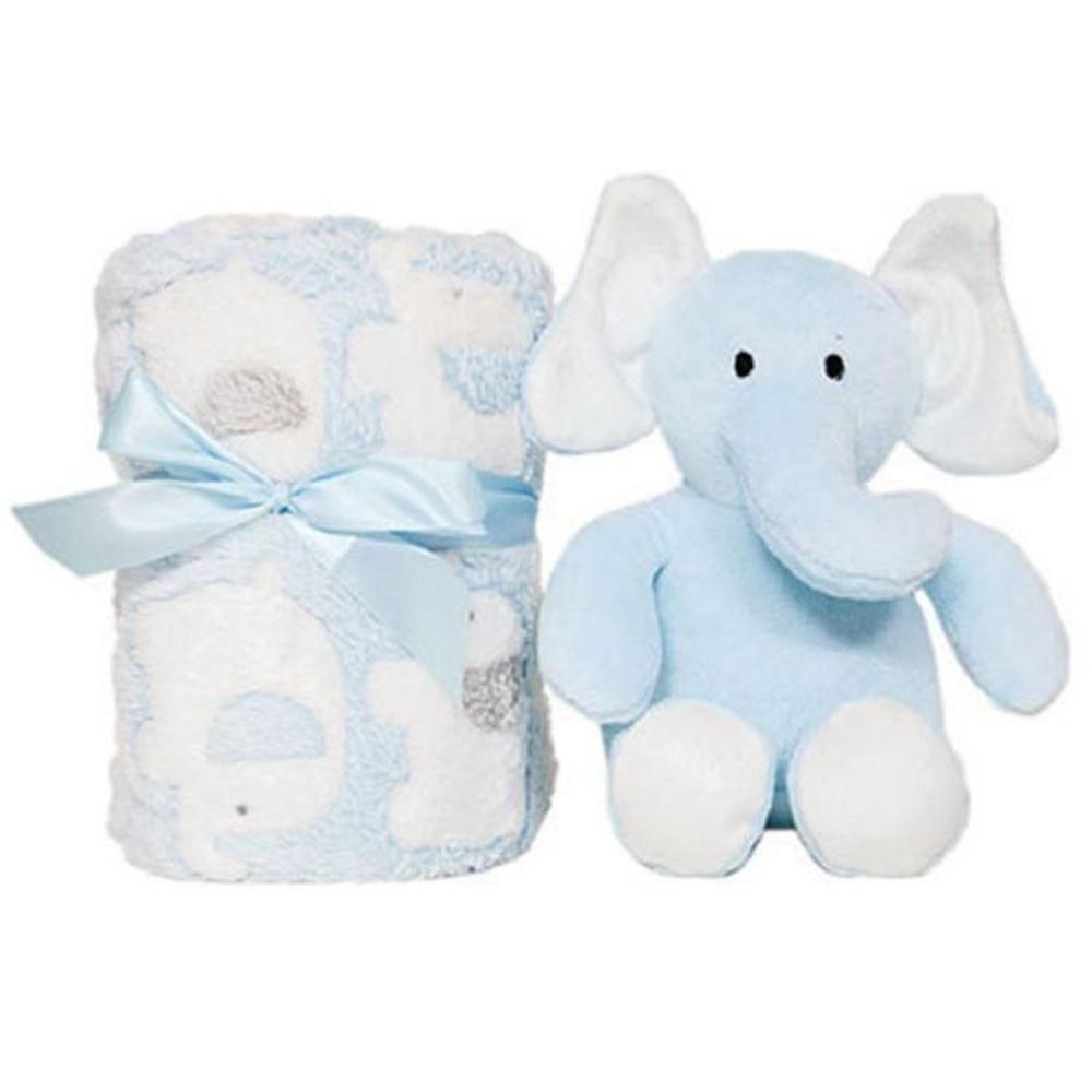 Pelucia Elefante e Manta Azul - Buba