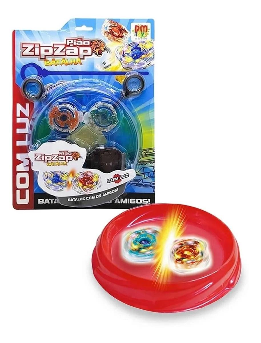 Pião E Arena Zip Zap Batalha Com Luz - DM Toys