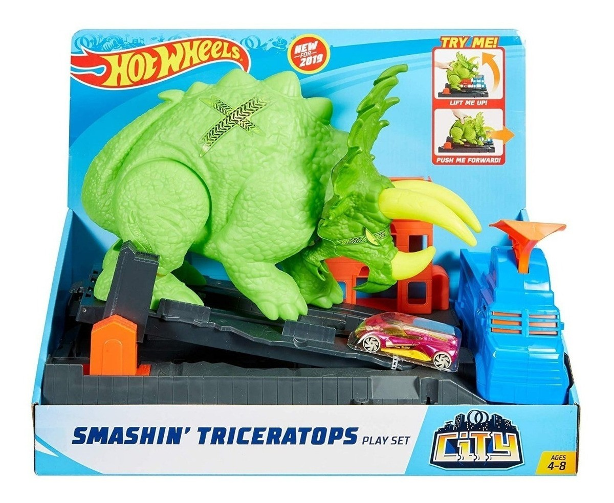 Pista Hotwheels Ataque De Triceratops Mattel Gbf97