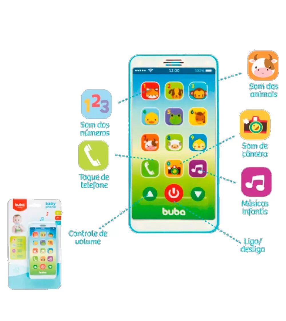 Telefone Celular Infantil Musical Baby Phone Azul - Buba