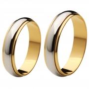 Aliança Bodas de Prata, Ouro 18k / 750 - Abaulada, Ouro Amarelo com o Centro de Ouro Branco - O Par