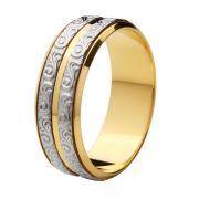 Aliança Bodas de Prata, Ouro 18k / 750 - Reta, Polida, com Duas Faixas Texturizadas de Ouro Branco
