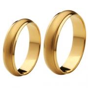 Aliança de Casamento de Ouro 18k / 750, Abaulada, Gira no meio - O PAR