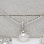 Colar de Ouro Branco, Pérola e Diamantes