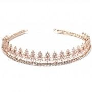 Coroa para Noivas, Banhada a Ouro Rosa, Cravejada de Zircônias - Coroa Ágata,