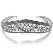 Coroa para Noivas e Debutante, Banhada a Ródio (Ouro Branco), com Microcravação de Zircônias - Coroa Nashville