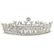 Coroa para Noivas, em Ródio (Ouro Branco), com Cravação de Cristais - Coroa Chicago