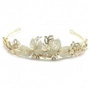 Coroa para Noivas, base Dourada com Pérolas e Strass - Coroa Dakota