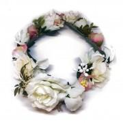 Coroa de Flores Artificiais, para Noivas, Damas, Demoiselles - Coroa Maresias