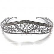 Coroa para Noivas, Banhada a Ródio (Ouro Branco), com Microcravação de Zircônias - Coroa Austin