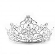 Coroa para Noivas, Alta, toda trabalhada em Arabesco, Cravejada de Zircônias de Múltiplas lapidações - Coroa Riesa