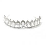 Coroa para Noivas, Cravejada Zircônias Nobres em Forma de Gota e Banho de Prata - Coroa Vernazza