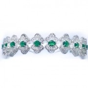 Tiara para Noivas, Prata com Microcravação de Zircônias Oval cor Esmeralda - Tiara Verona