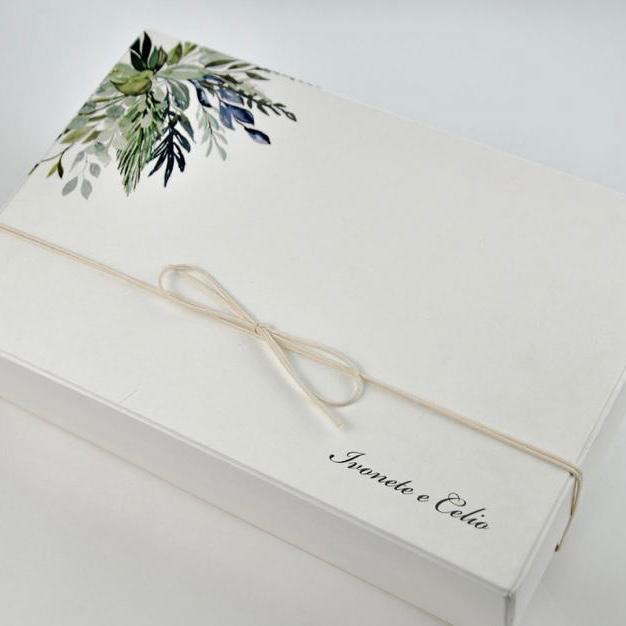 Kit Completo para Padrinhos, contendo, Box Personalizada, 1 Gravata Masculina e 1 Bracelete Feminino Personalizado