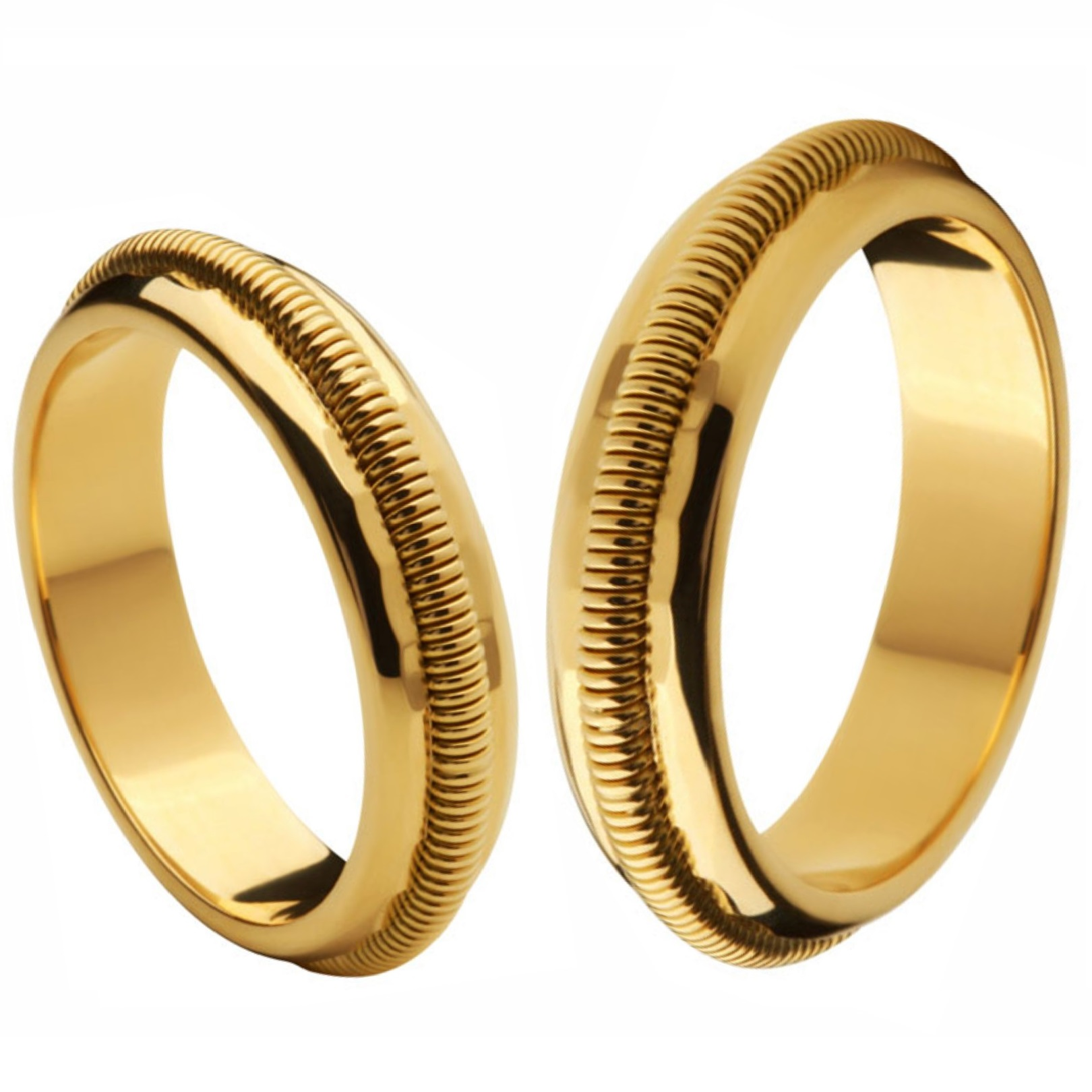 Aliança Bodas de Ouro, Ouro 18k / 750 - Abaulada, com trabalho espiral em alto relevo - O PAR