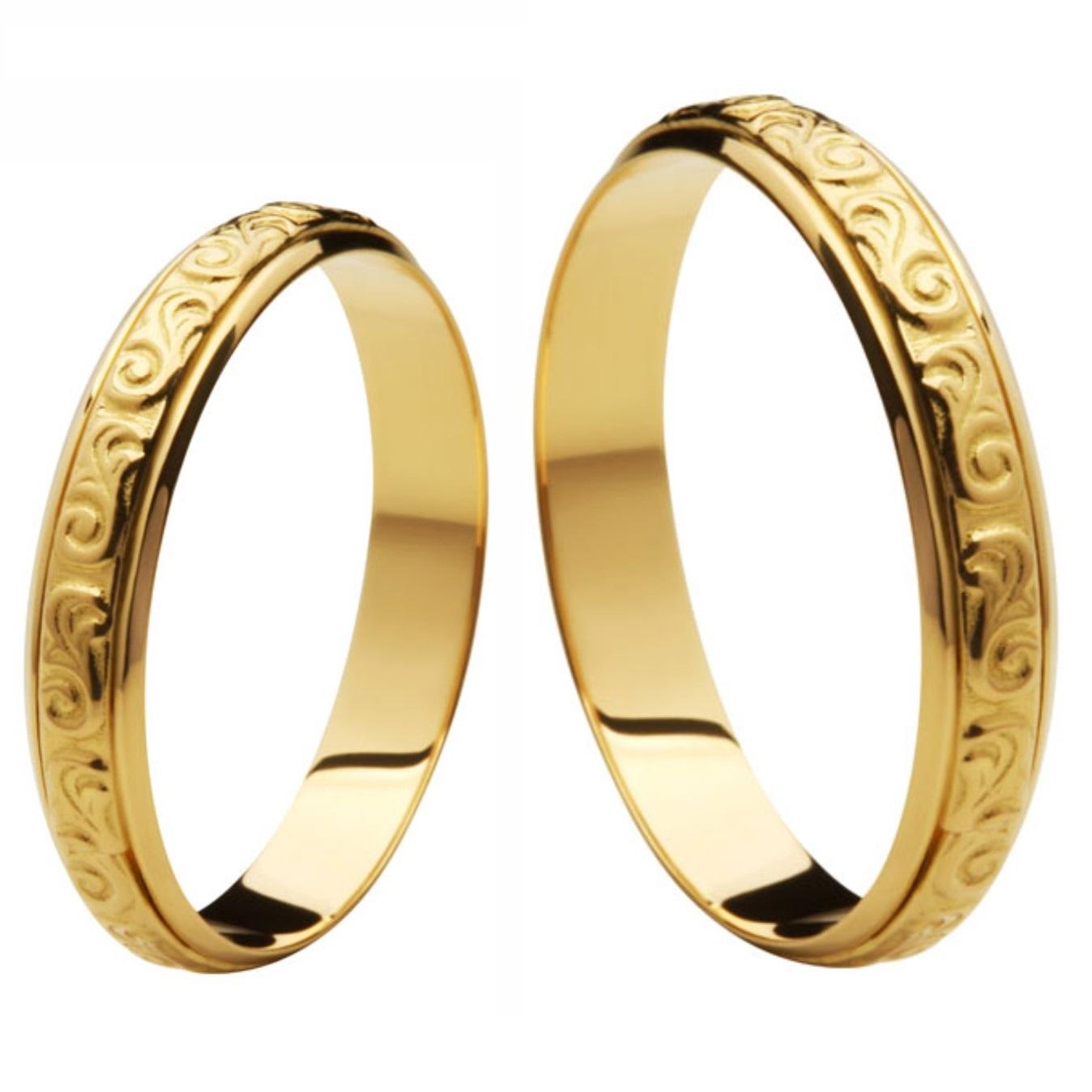 Aliança Bodas de Ouro, Ouro 18k / 750 - Abaulada, Texturizada - O PAR