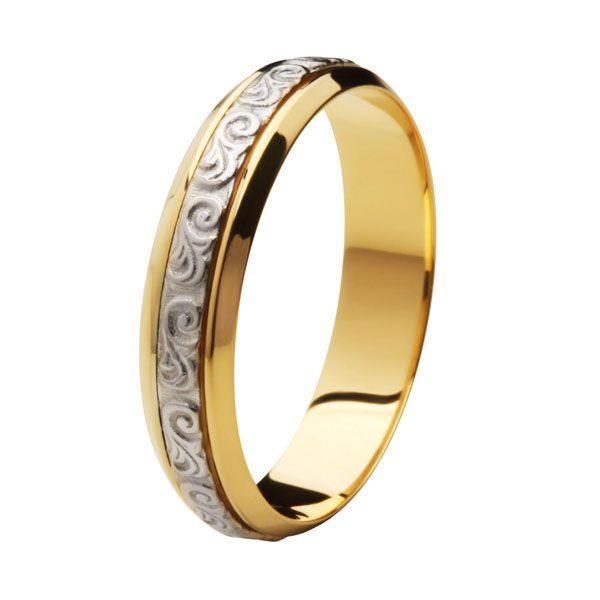 Aliança Bodas de Prata, Ouro 18k / 750 - Abaulada, Centro Ouro Branco Texturizado