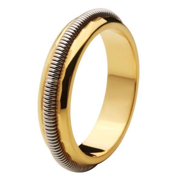 Aliança Bodas de Prata, Ouro 18k / 750 - Abaulada, com trabalho espiral de Ouro Branco em alto relevo