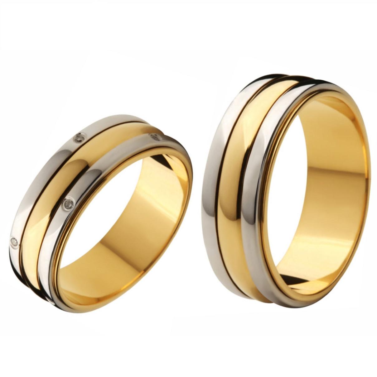 Aliança Bodas de Prata, Ouro 18k / 750 - Reta, Polida, com Duas Faixas de Ouro Branco - O Par
