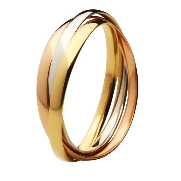 Aliança Bodas de Prata, Trilha, Ouro 18k / 750 - Três Elos, Ouro Amarelo, Rosê e Branco