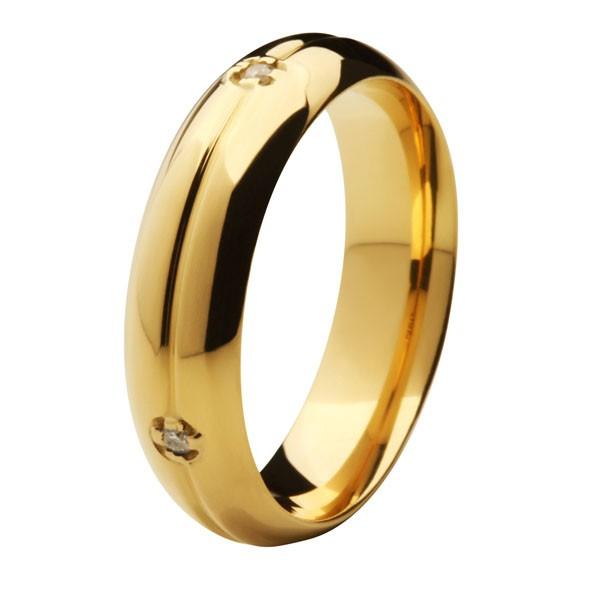 Aliança de Casamento de Ouro 18k / 750, Abaulada, com 4 brilhantes cravejados