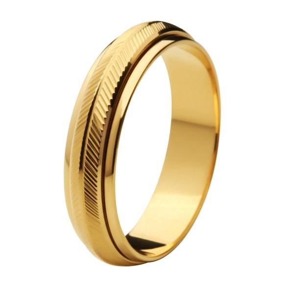 Aliança de Casamento de Ouro 18k / 750, Abaulada, Gira no meio